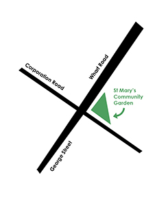 Map to show St Mary's Community Garden on the corner of Corporation Road and Wharf Road